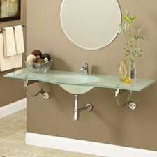 Brickell Wall Mounted Frosted Glass Bathroom Sink