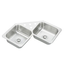 "Celebrity 31.88"" x 31.88"" Double Bowl Self-Rimming Corner Kitchen Sink"