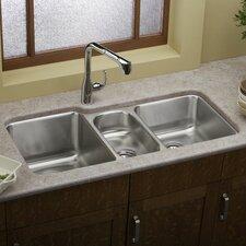 "Lustertone 40"" x 20.5"" Undermount Triple Bowl Kitchen Sink"