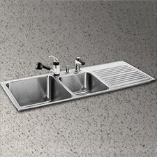 """Gourmet 48"""" x 22"""" 3-Hole Self Rimming Double Bowl Kitchen Sink"""