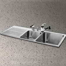 """Gourmet 48"""" x 22"""" 3 Hole Self Rimming Double Bowl Kitchen Sink"""