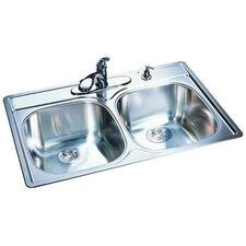 "33"" x 22""18 Gauge Double Bowl Kitchen Sink"