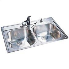 "33"" x 22"" 20 Gauge Double Bowl Kitchen Sink"