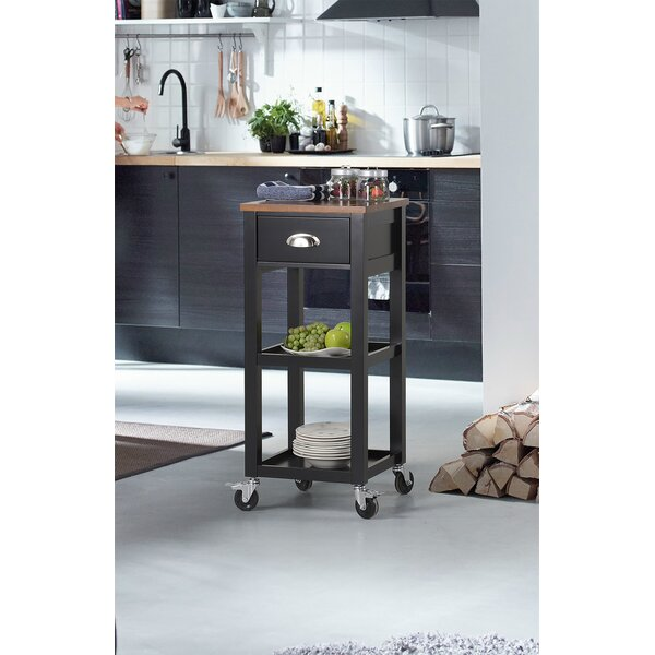 Kitchen Cart with Natural Rubberwood Top