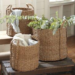Natural Palm Braided Basket (Set of 3)