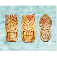 'Tiki Faces' Graphic Art