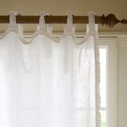 Ruffle Linen Tab Top Single Curtain Panel