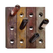Rustic 12 Bottle Wall Mount Wine Rack