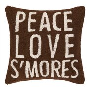 Peace Love S'Mores Hook Wool Throw Pillow