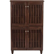 Baxton Studio Fernanda 4 Door Entryway Shoe Storage Tall Cabinet