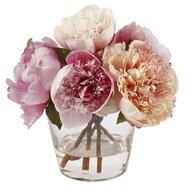 Multi Pink Peonies in Glass Vase