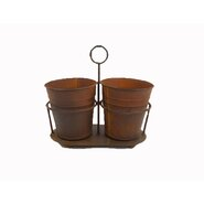 Vintage 3 Piece Round Pot Planter Set