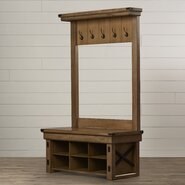 Andora Wood Veneer Entryway Hall Tree with Storage Bench