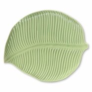 "8.5"" Handmade Ceramic Leaf Plate with Light Glaze"
