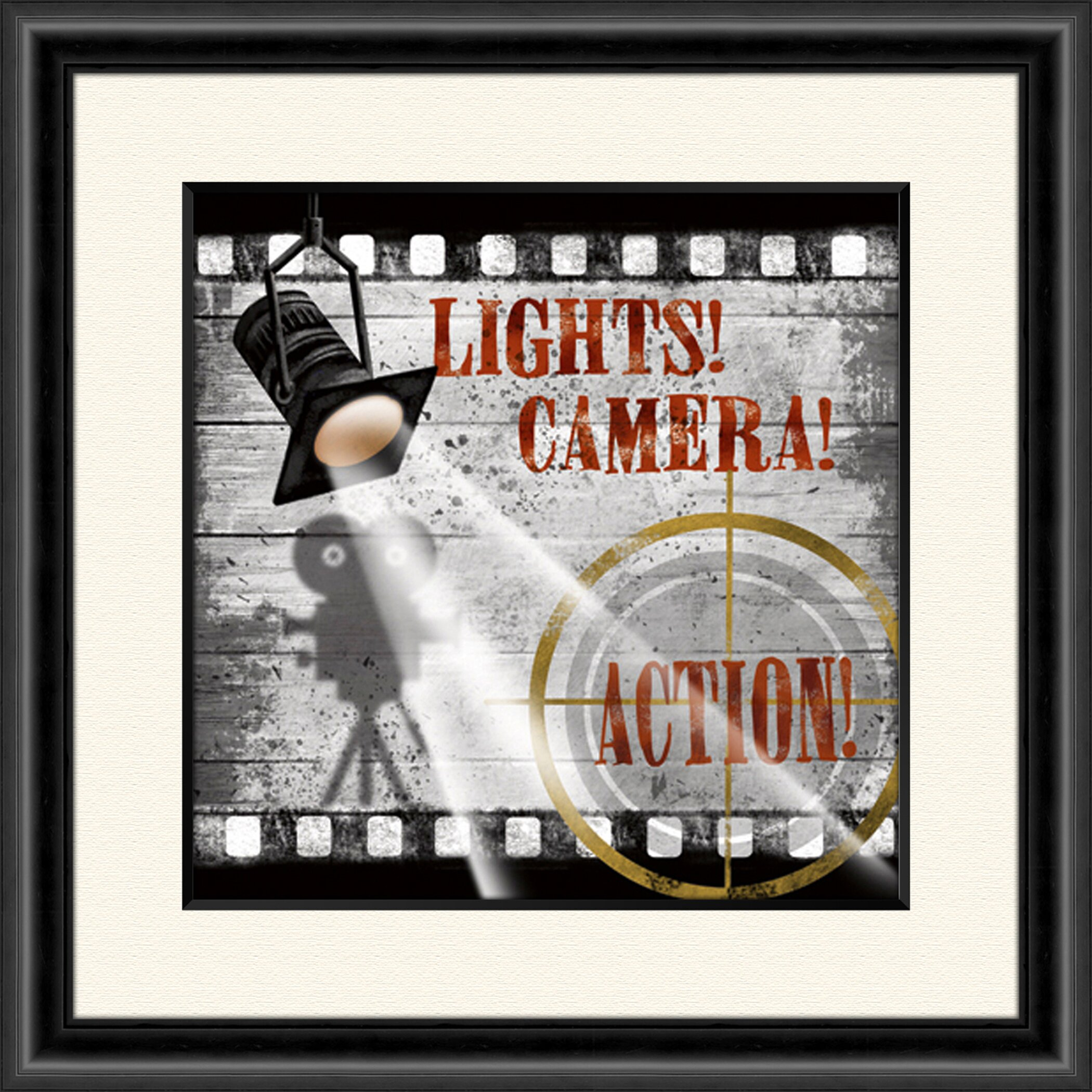 Lights Camera Action Wall Decor : Lights Camera Action A Framed Vintage Advertisement Wayfair