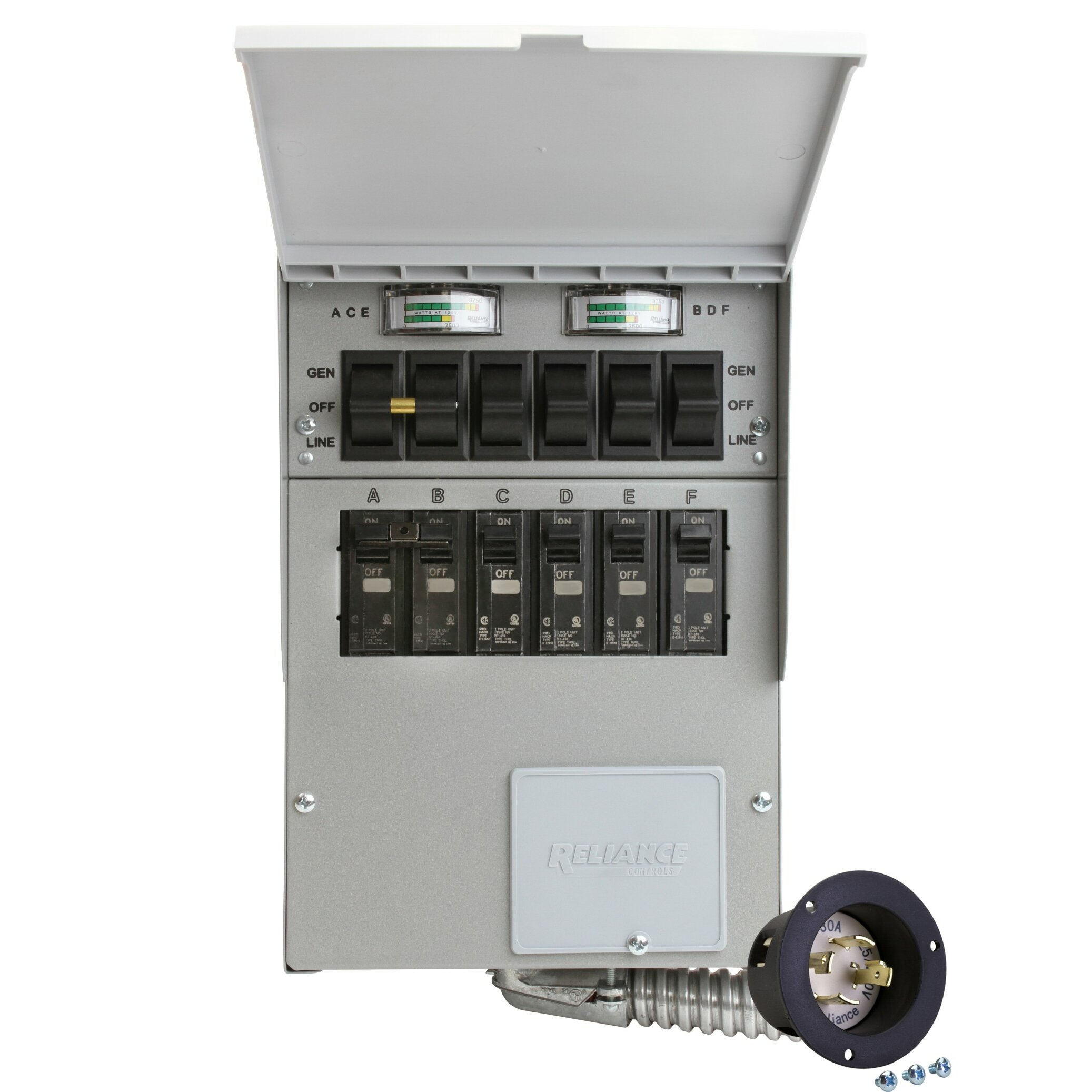 Pro/Tran 30-Amp 6-Circuit 2 Manual Transfer Switch with Optional Power