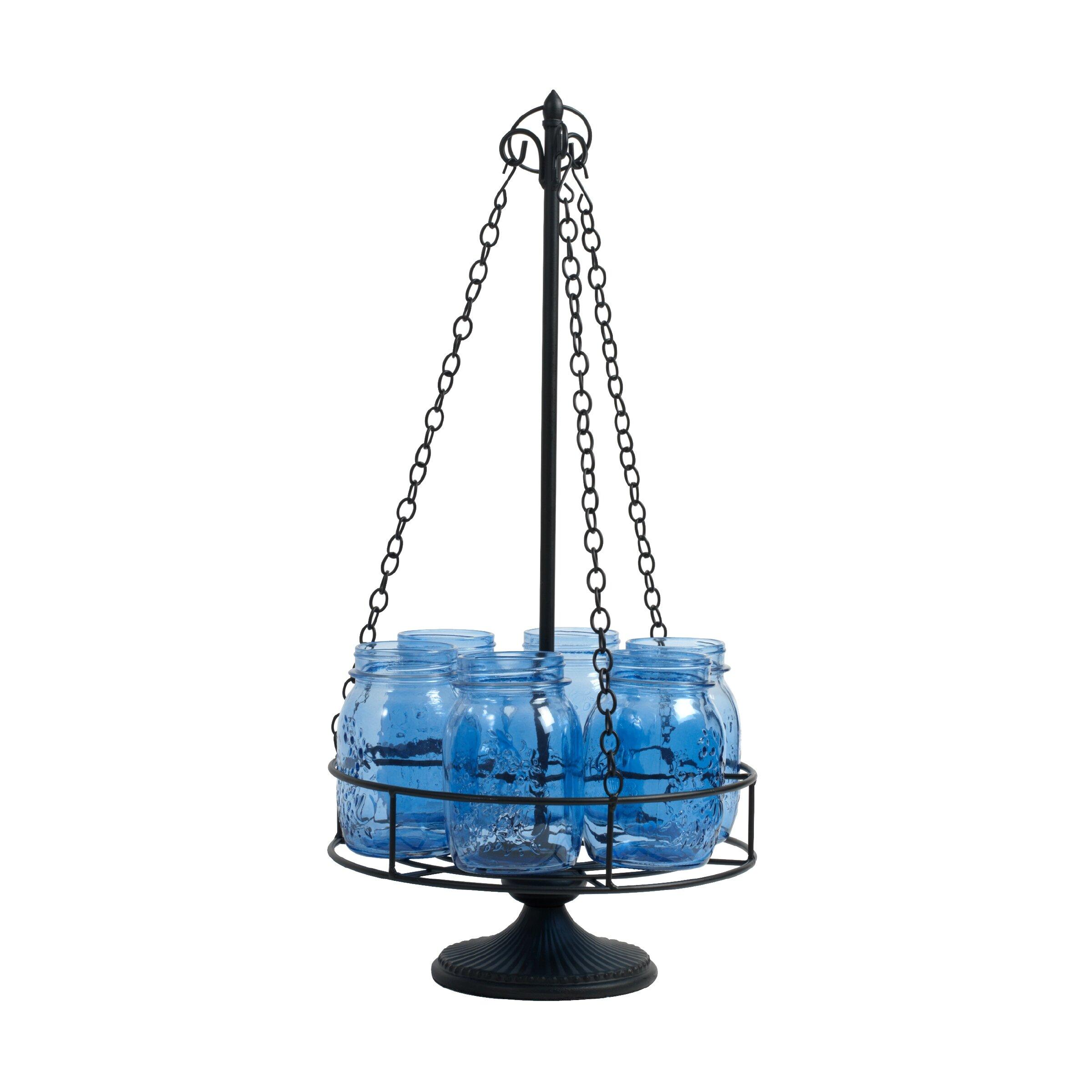 Stargaze Set Of 2 Hanging Mason Jar Pendant Lights By: Pfaltzgraff 6-Light Mason Jar Chandelier Centerpiece
