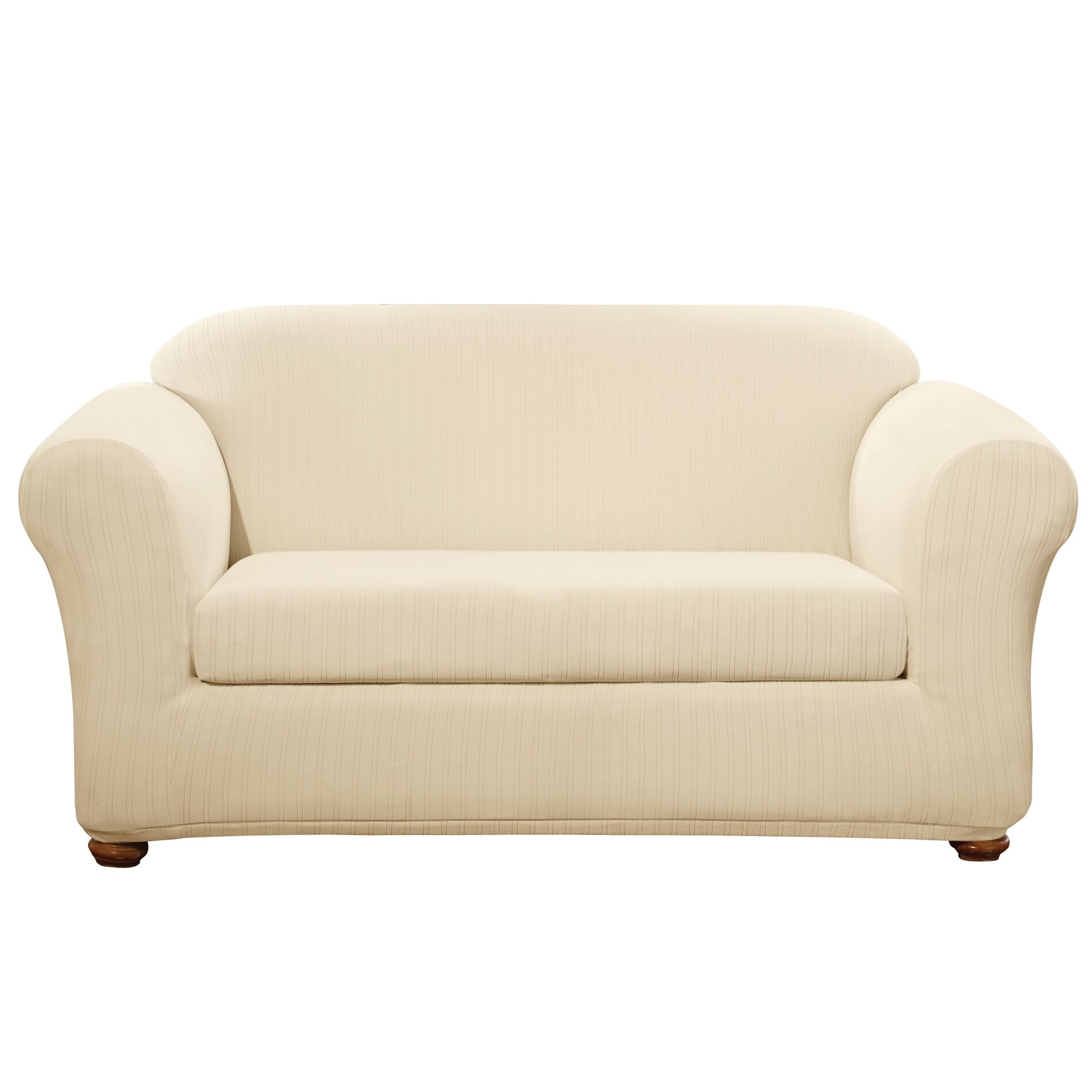 Sure fit stretch pinstripe loveseat slipcover reviews wayfair Loveseat stretch slipcovers