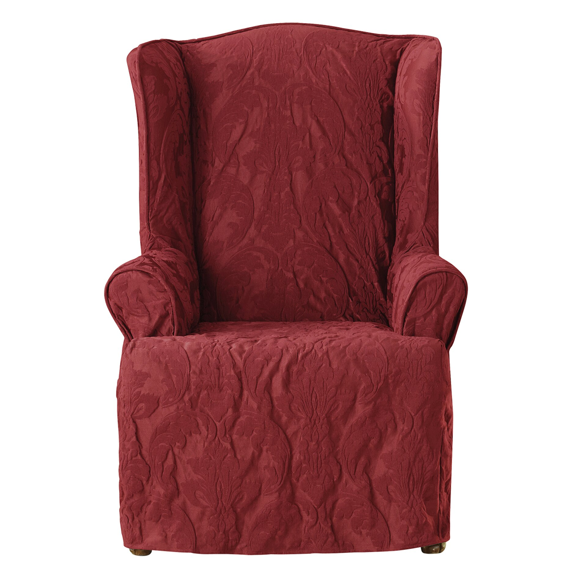 Sure Fit Matelasse Damask Wing Chair Slipcover & Reviews