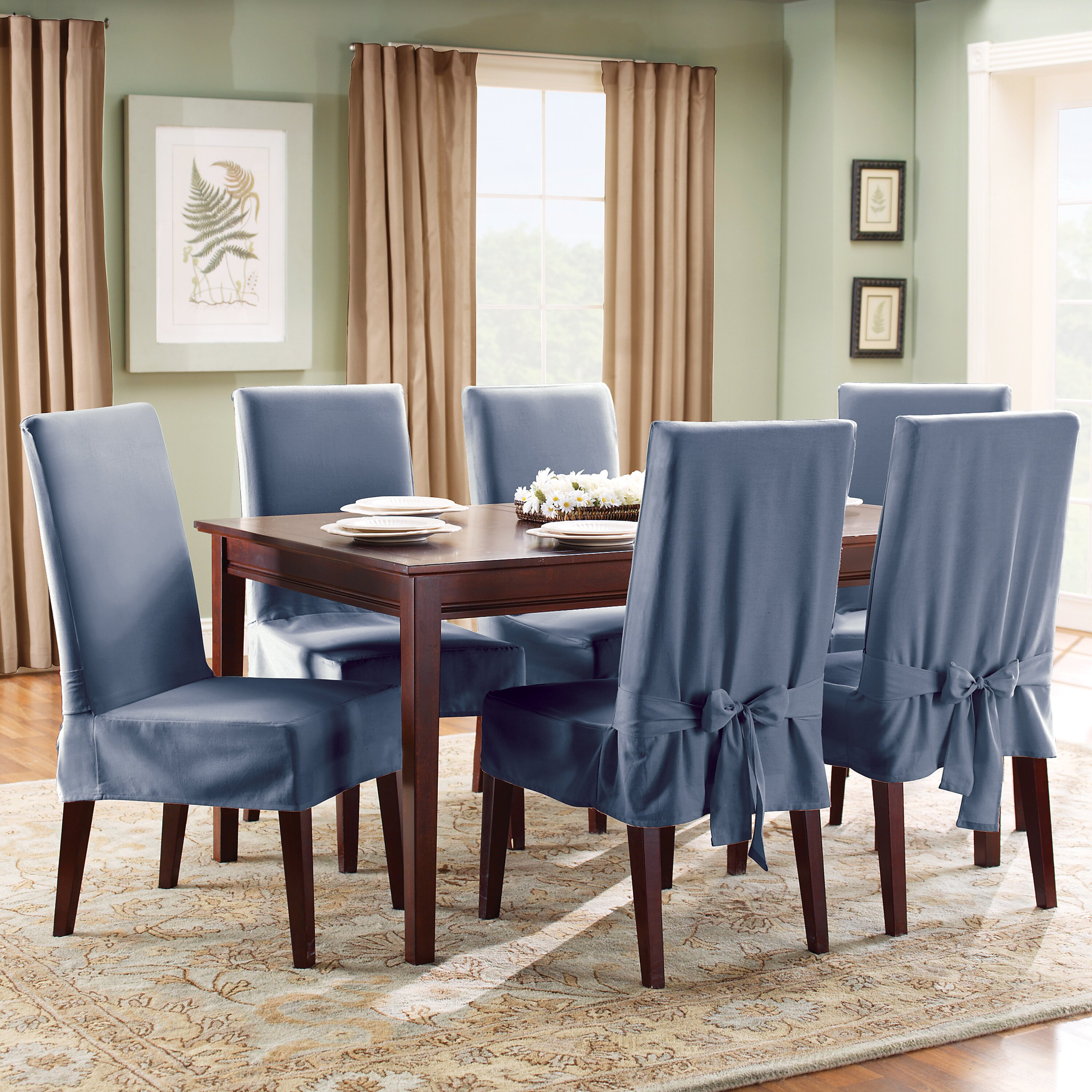 Slipcover For Dining Room Chair: Sure Fit Cotton Duck Shorty Dining Room Chair Slipcover