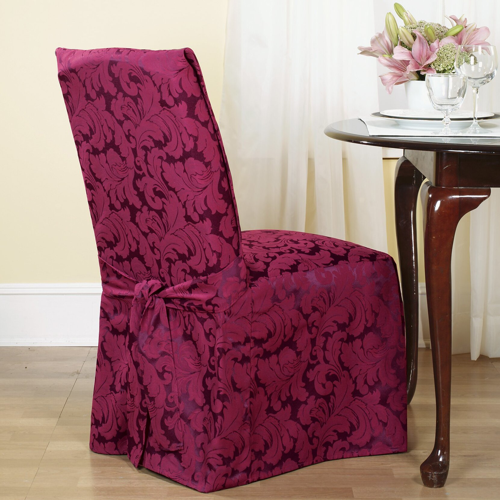 ... Fit Scroll Classic Dining Chair Skirted Slipcover & Reviews  Wayfair