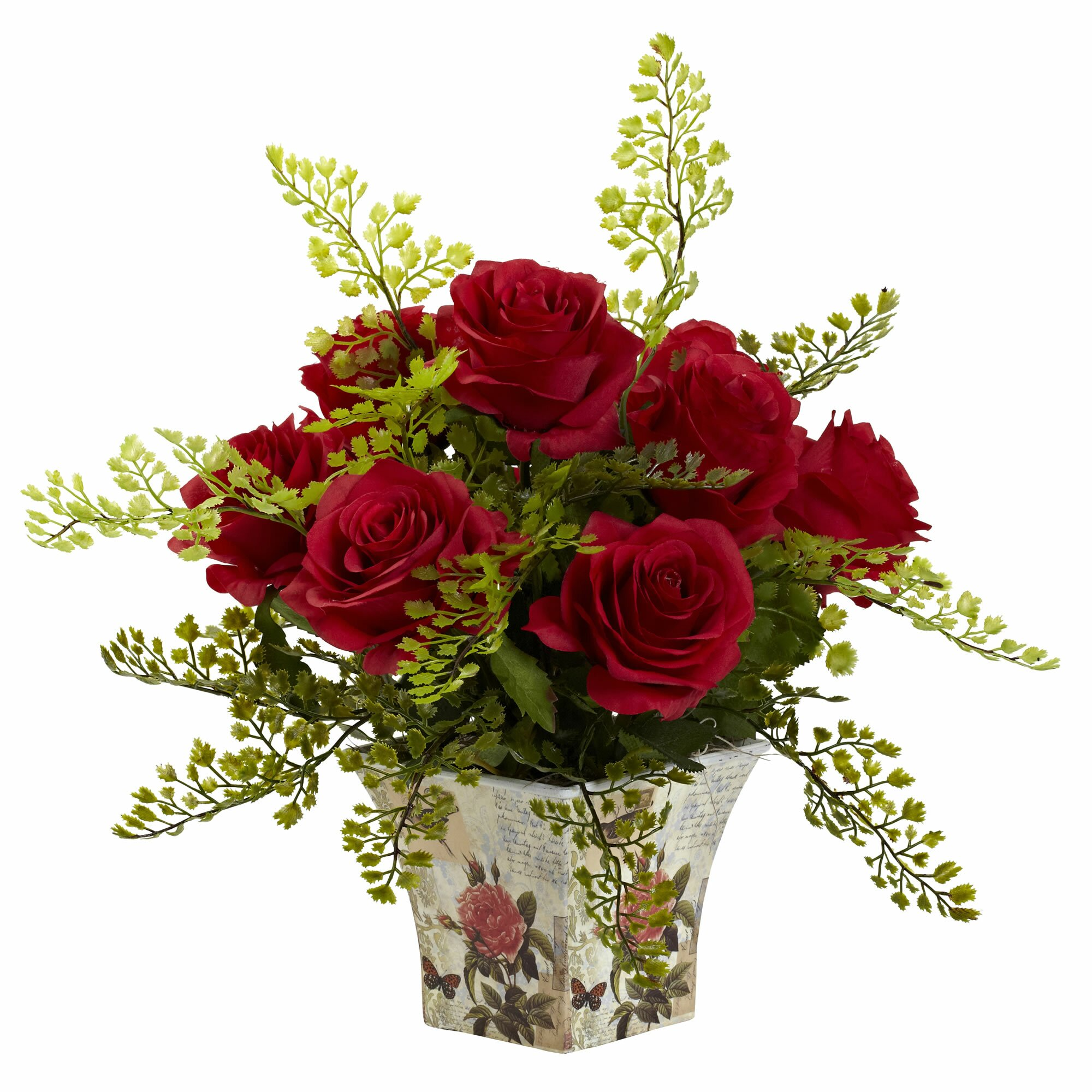 11 Real Roses And 1 Fake Nearly Natural Rose And Maiden Hair With Floral