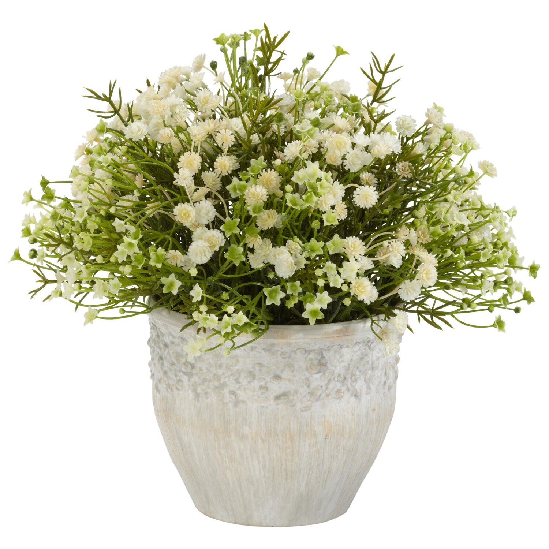 Nearly Natural Mixed Mini Daisy Silk Desk Top Plant in Pot