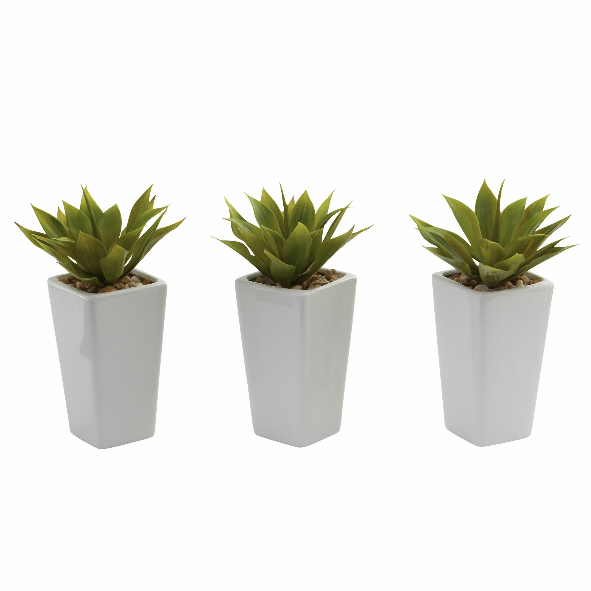 Nearly Natural Mini Agave Desk Top Plant in Planter
