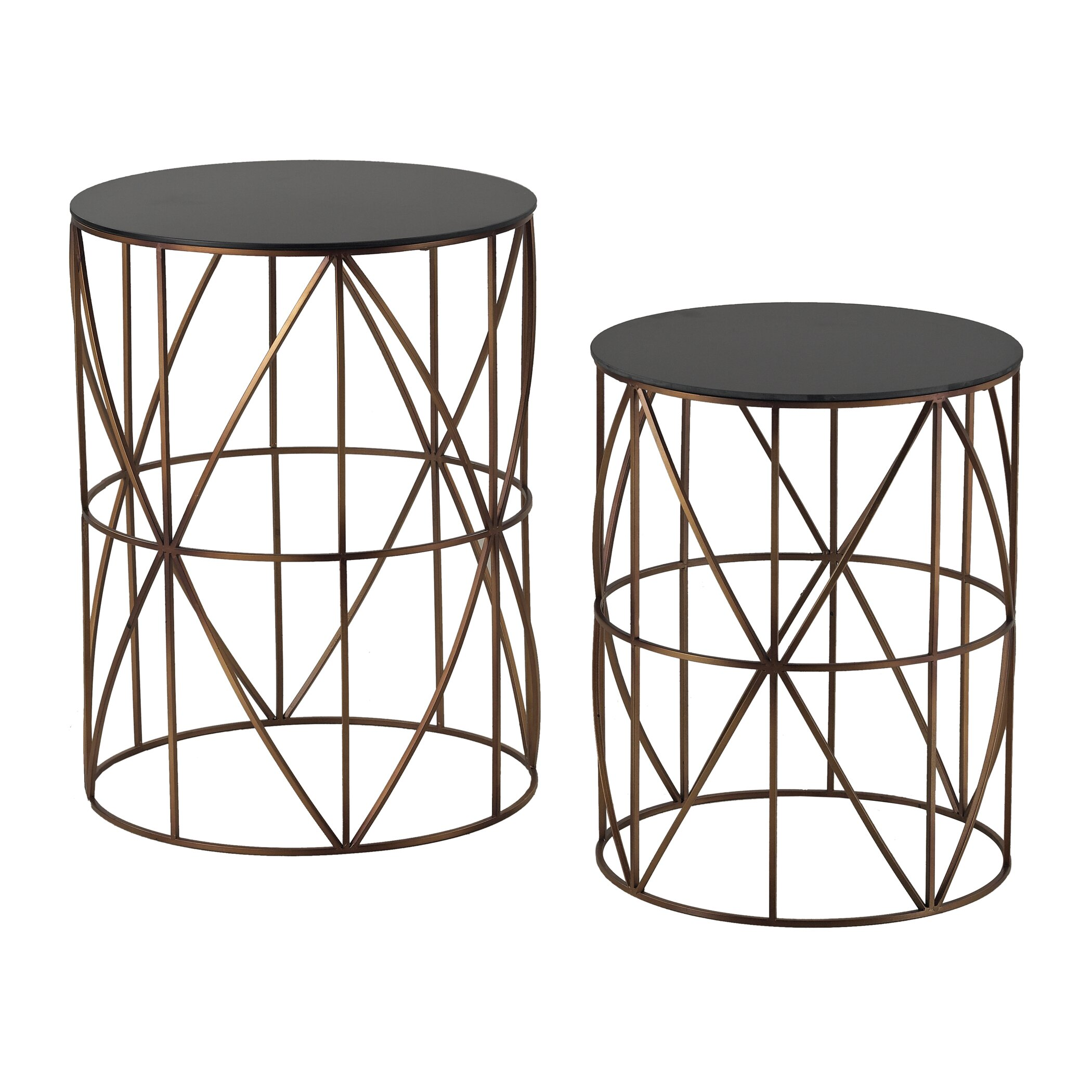 Drum Orange 023 Sterling Industries Piece Bradfield Drum Side Table Set