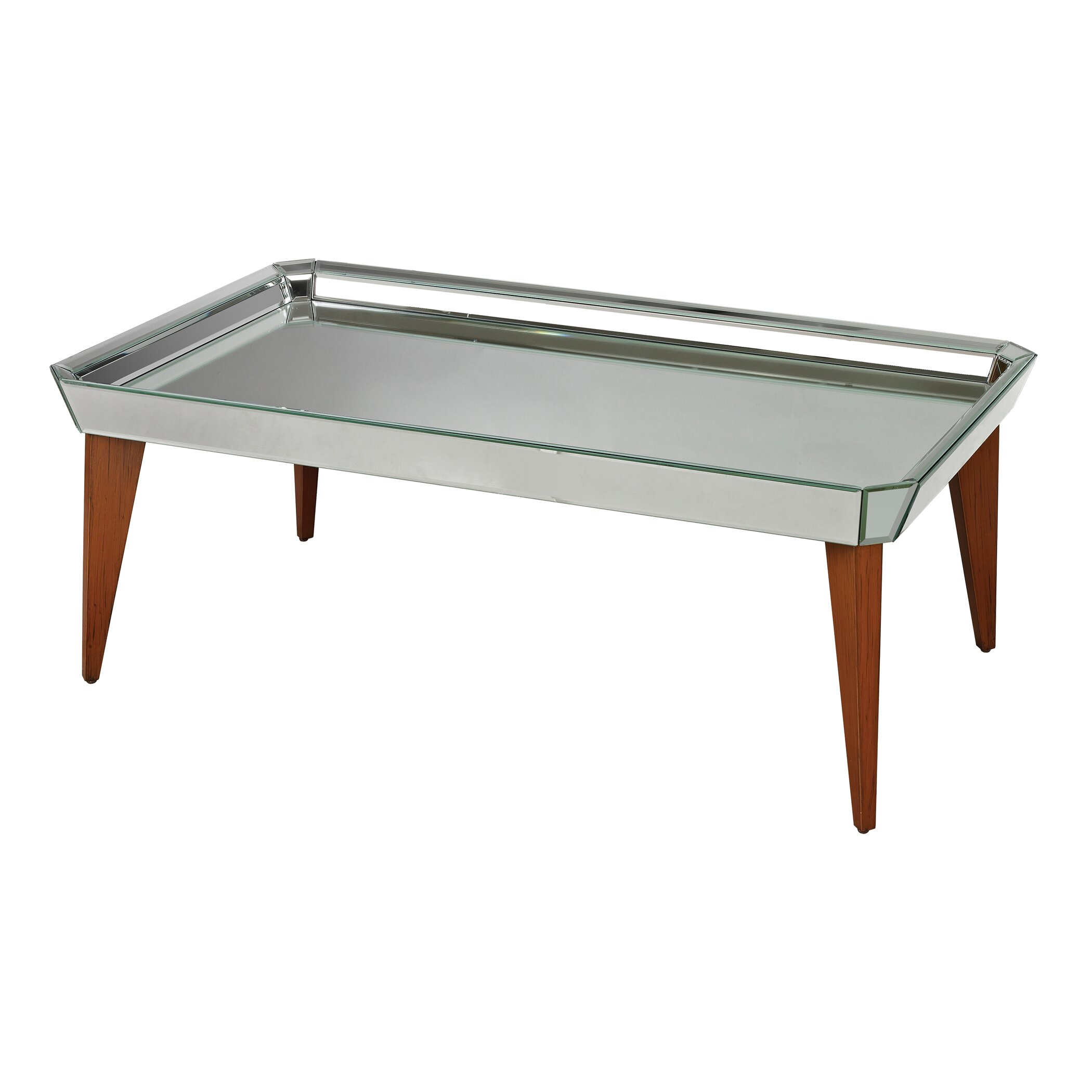 Rushbrook mid century mirrored coffee table wayfair for Wayfair mid century coffee table