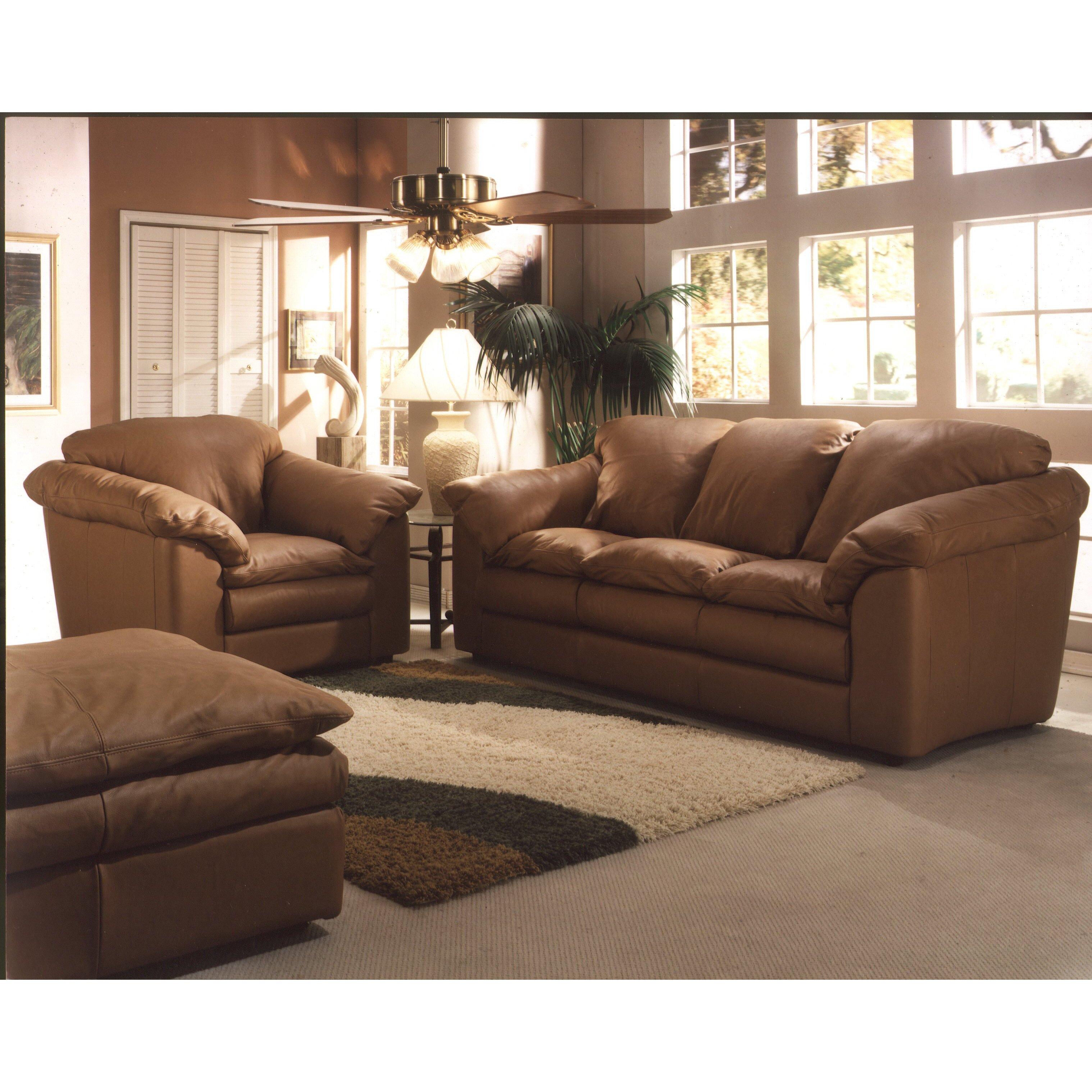 omnia furniture oregon 3 seat leather living room set
