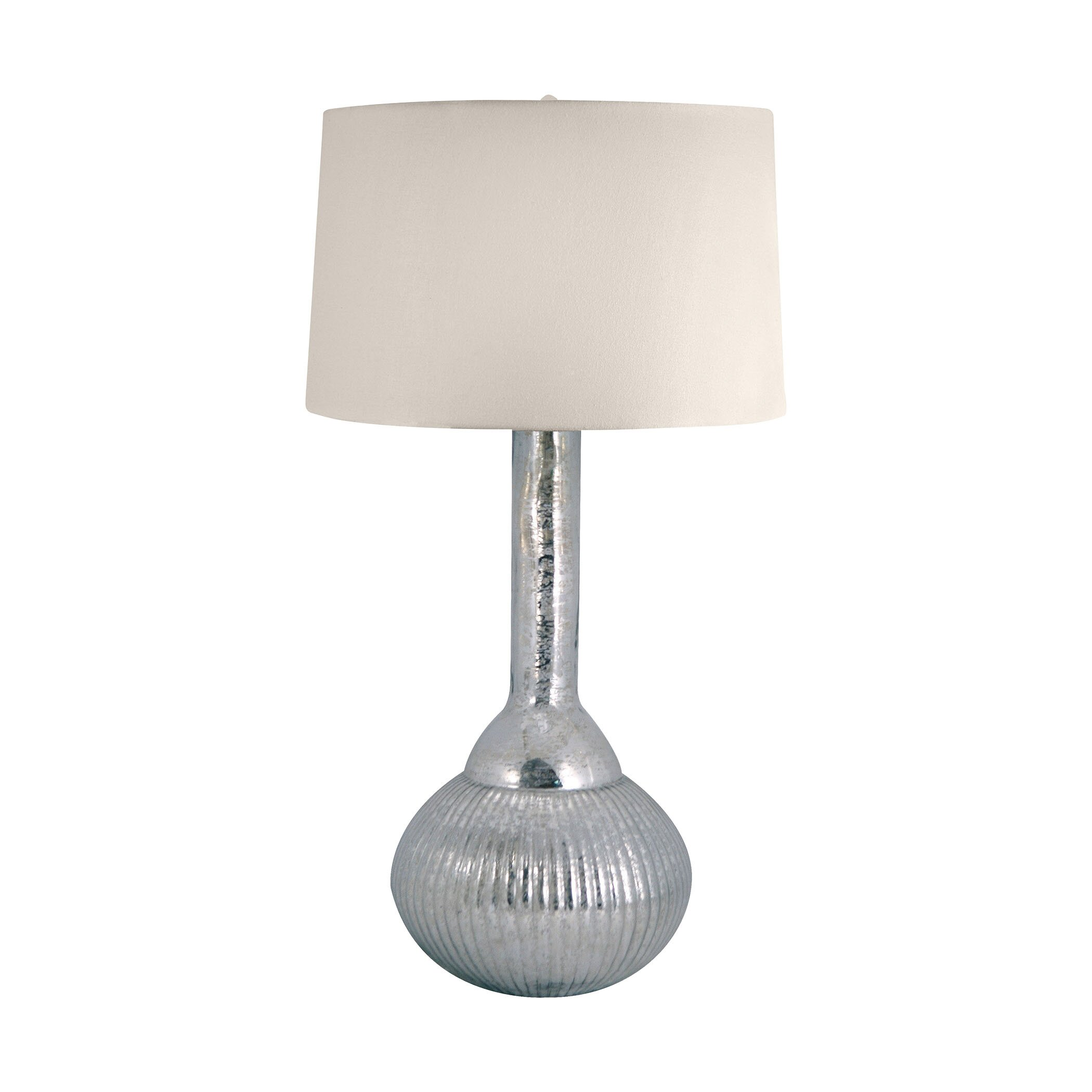 lamp works mercury glass fluted bulb 33 h table lamp with drum shade. Black Bedroom Furniture Sets. Home Design Ideas