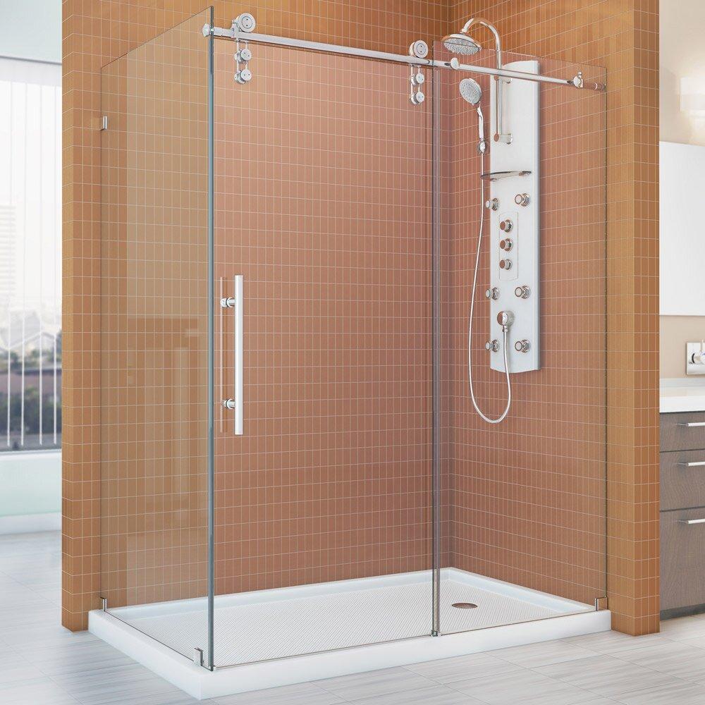 Enigma z 34 1 2 by 60 3 8 fully frameless sliding shower for Fully enclosed shower