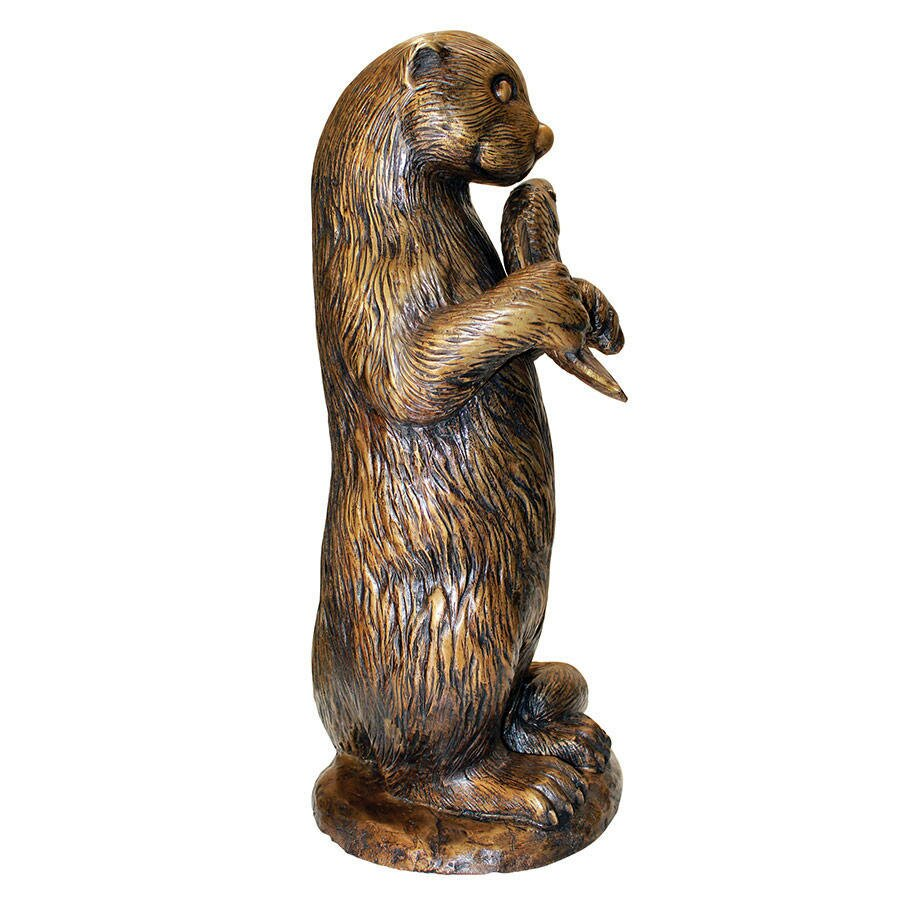 Standing otter with fish garden statue wayfair for Fish garden statue