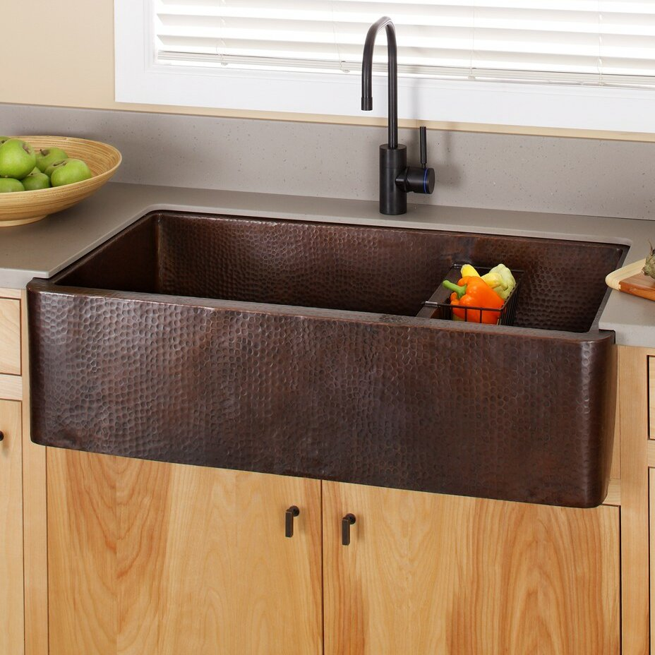 "Native Trails Farmhouse 40"" x 22"" Duet Pro Copper Kitchen Sink &amp"