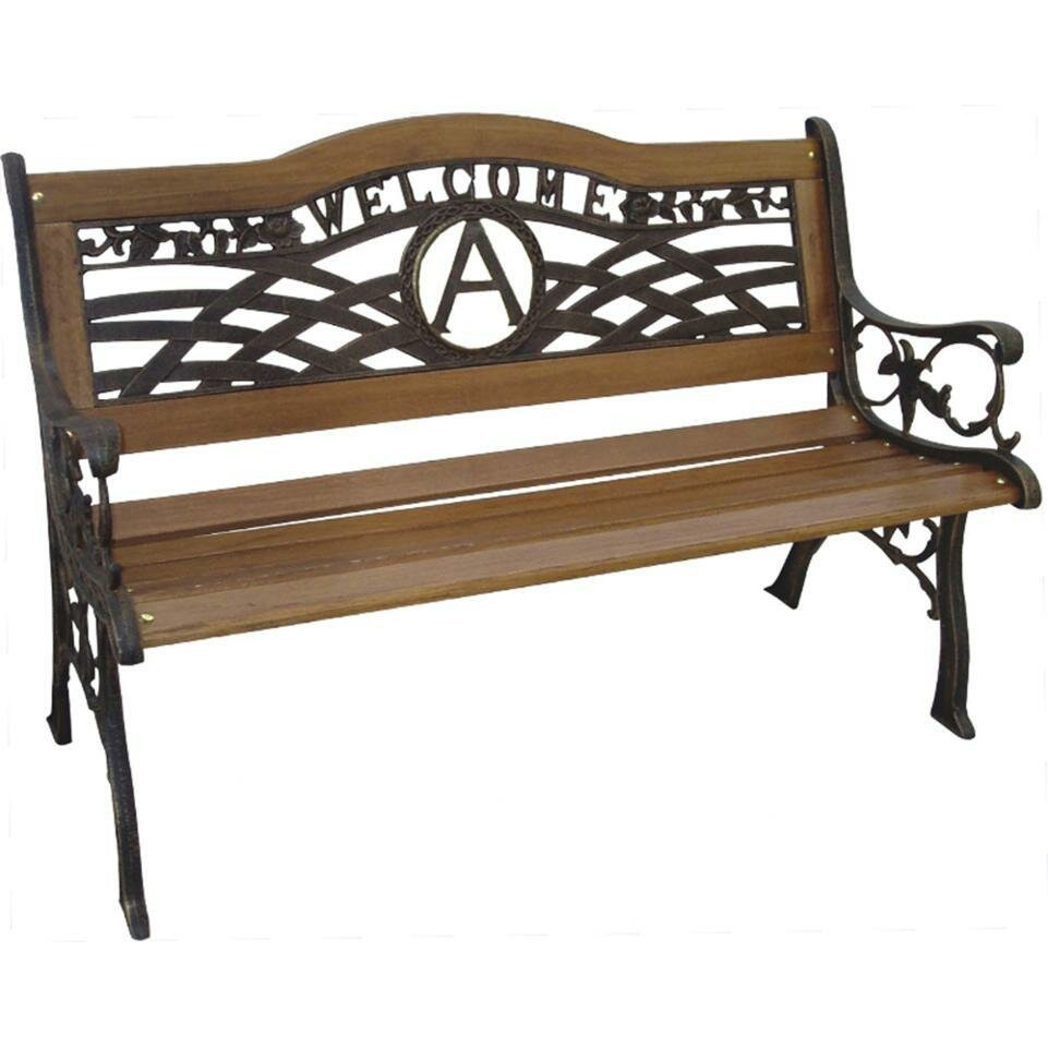 Monogram wood and cast iron park bench wayfair - Wood and iron garden bench ...