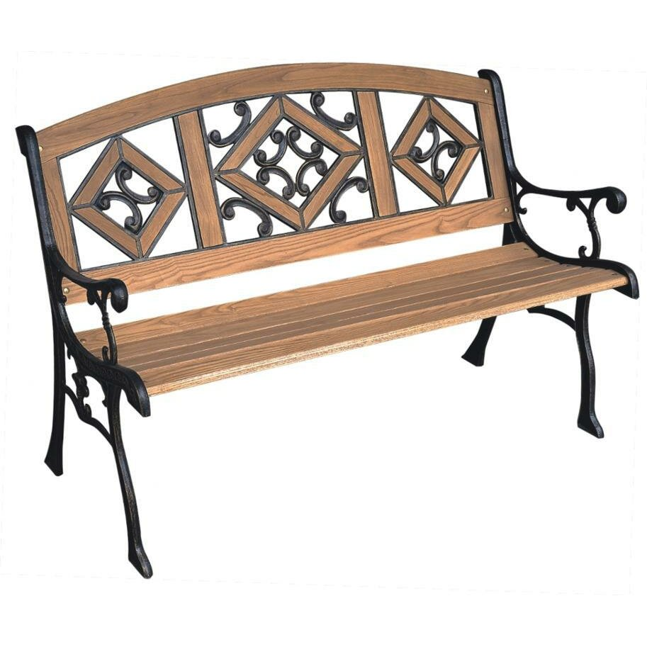 Dc america florence wood and cast iron park bench - Wood and iron garden bench ...