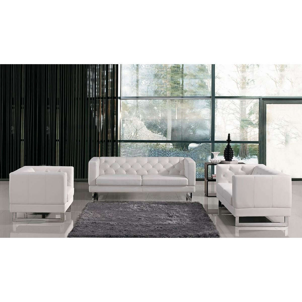 Windsor modern tufted eco leather living room set amp reviews wayfair