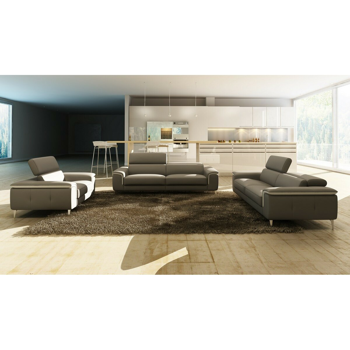Divani Casa Leather Sofa Set  Wayfair