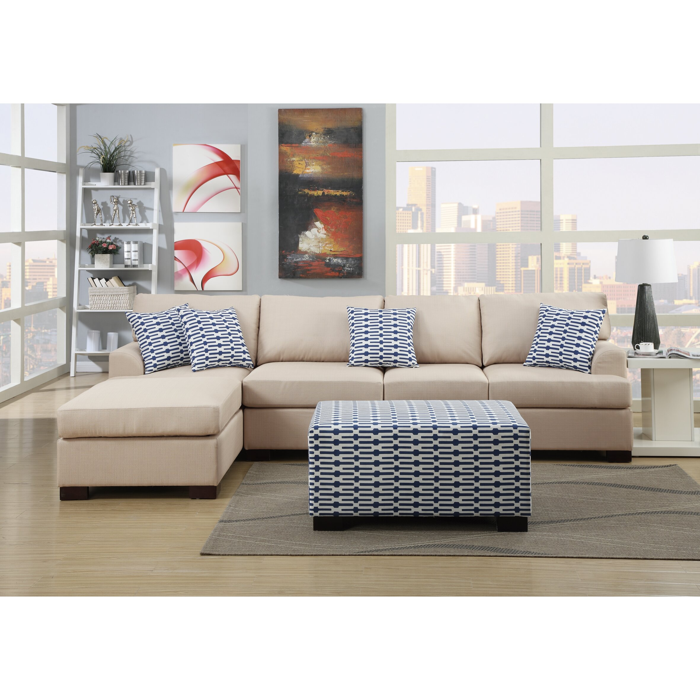 Poundex Sectional White Leather Sofa Chaise: Poundex Bobkona Cayden Reversible Sectional & Reviews