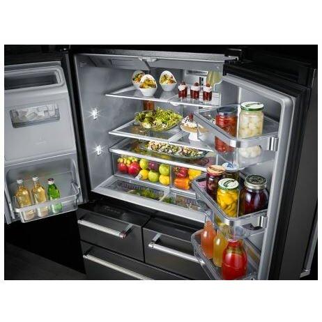 Kitchenaid 25 8 cu ft bottom freezer refrigerator with platinum interior design reviews for Platinum interior refrigerator