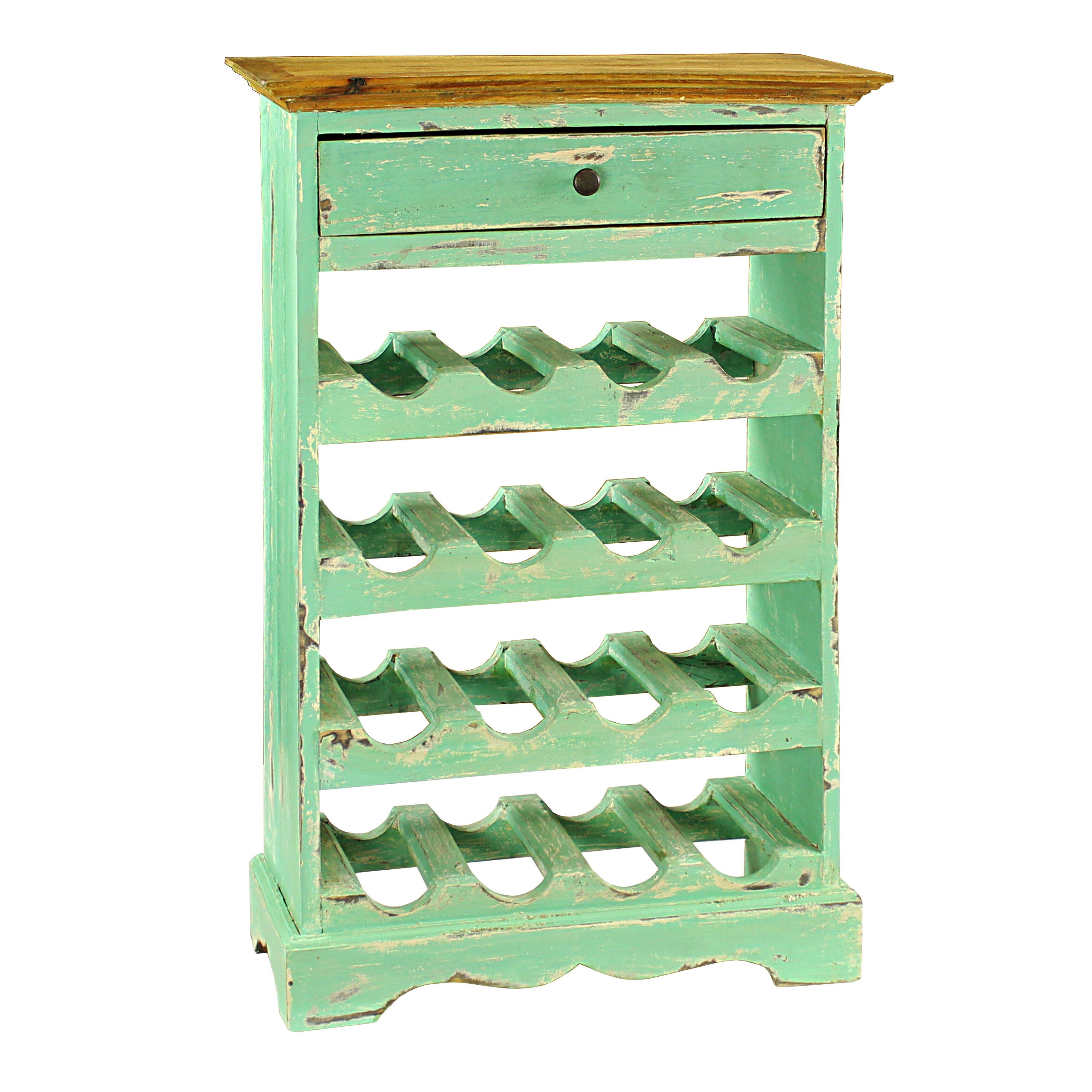 Antique revival auburn 16 bottle wine rack reviews wayfair for Old wine rack