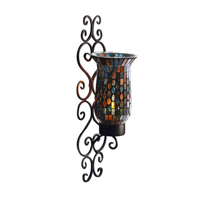 Mosaic Glass Candle Wall Sconces : American Atelier Mosaic Glass and Metal Wall Sconce & Reviews Wayfair