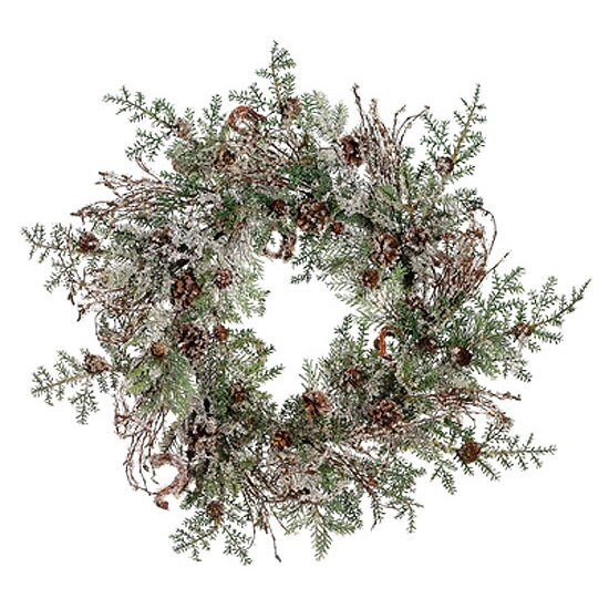 24 Artificial Woodland Iced Christmas Wreath by Tori Home