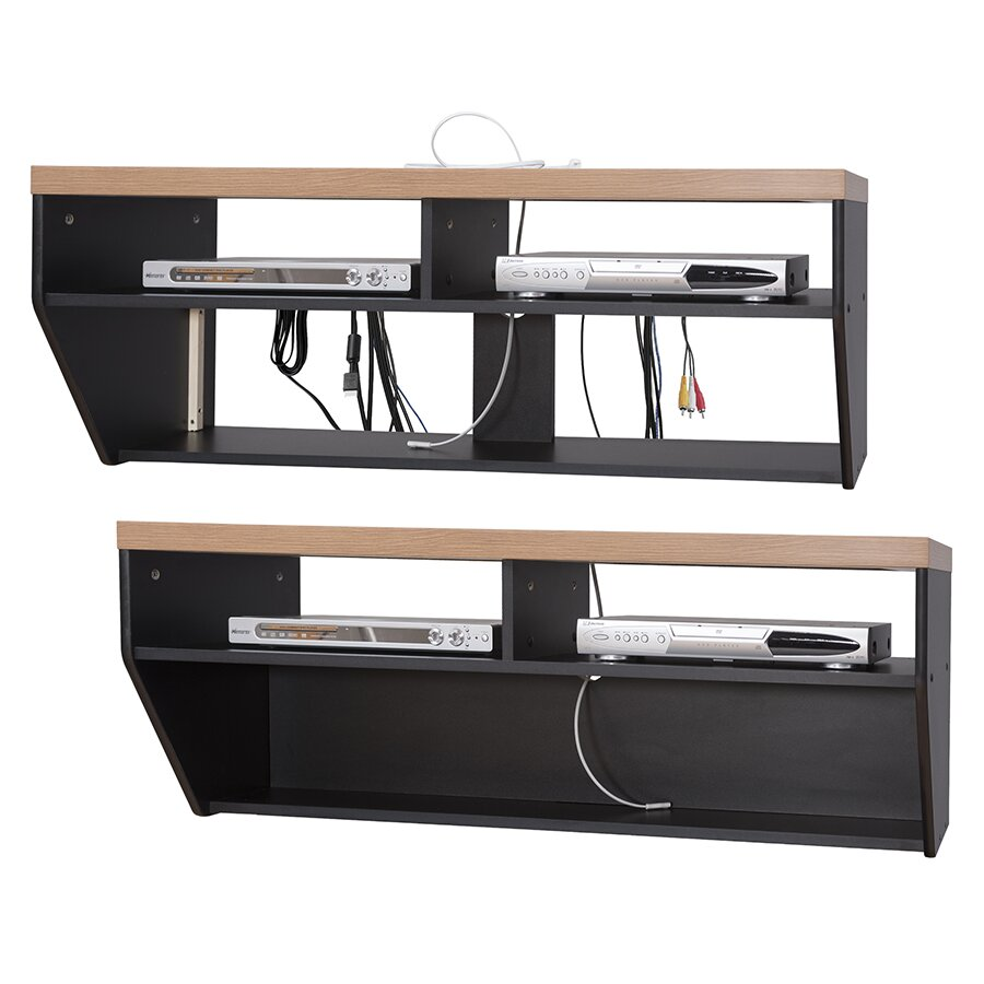 48 angled sides wall mounted tv component shelf wayfair. Black Bedroom Furniture Sets. Home Design Ideas