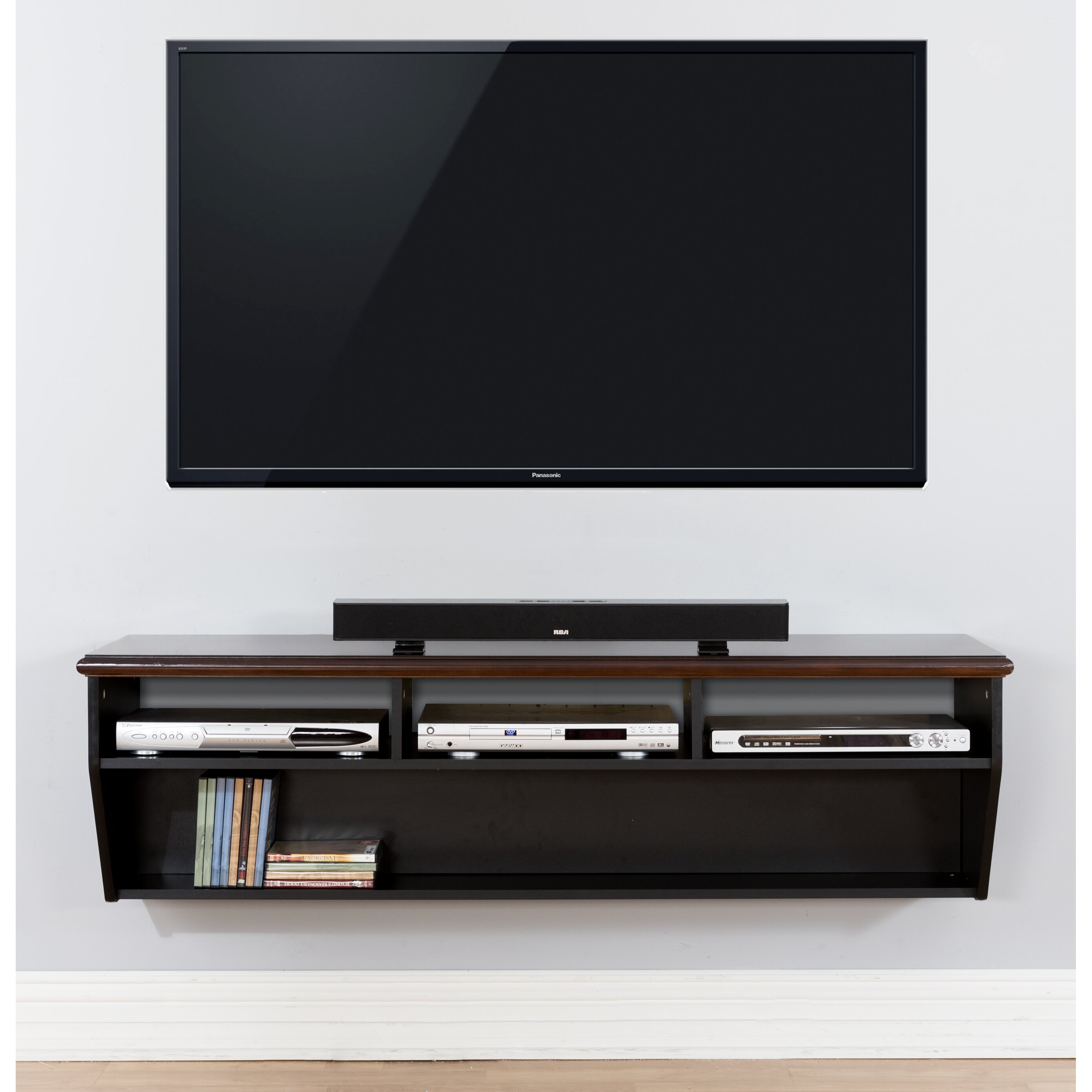 60 hardwood veneer top wall mounted tv component shelf. Black Bedroom Furniture Sets. Home Design Ideas