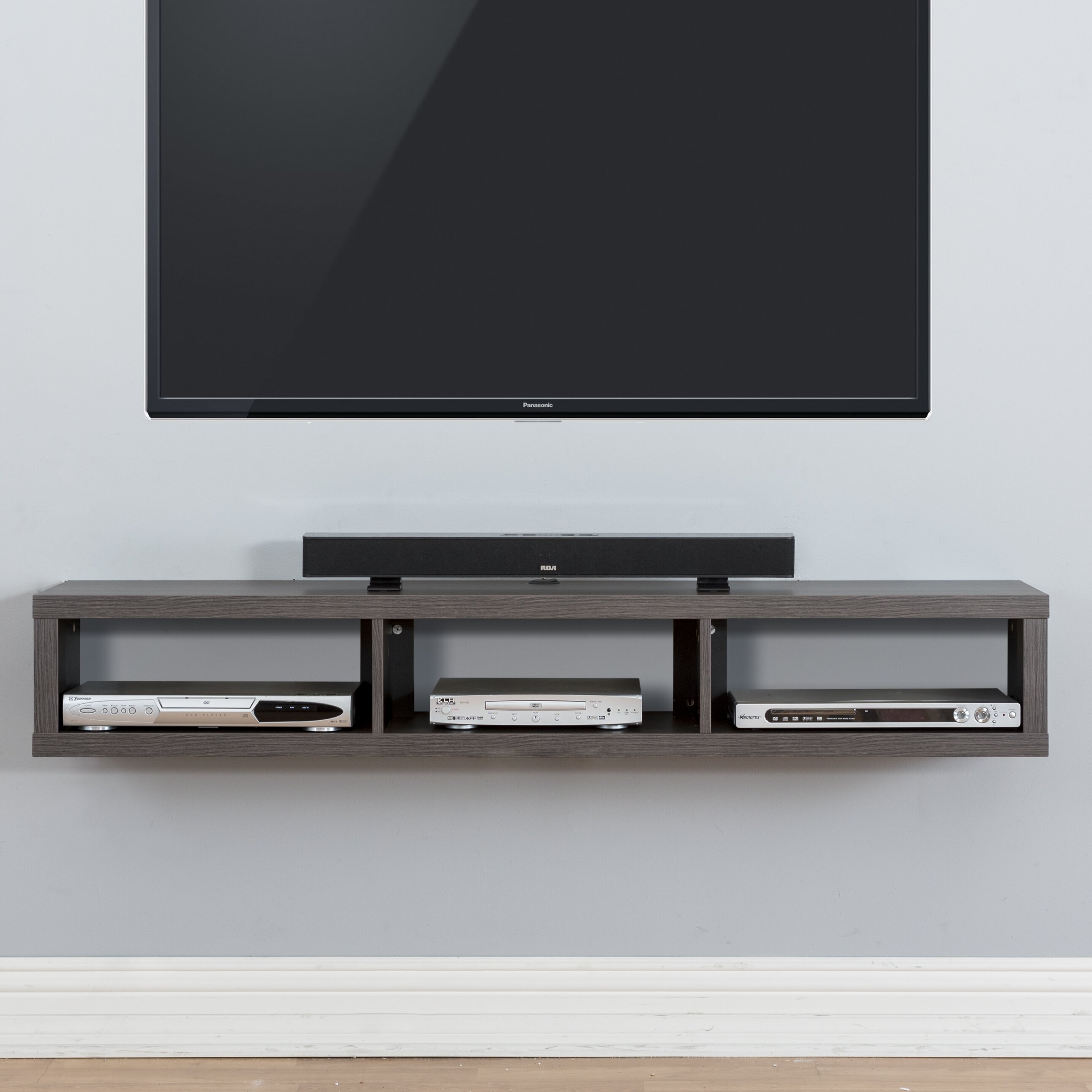 60 shallow wall mounted tv component shelf wayfair. Black Bedroom Furniture Sets. Home Design Ideas