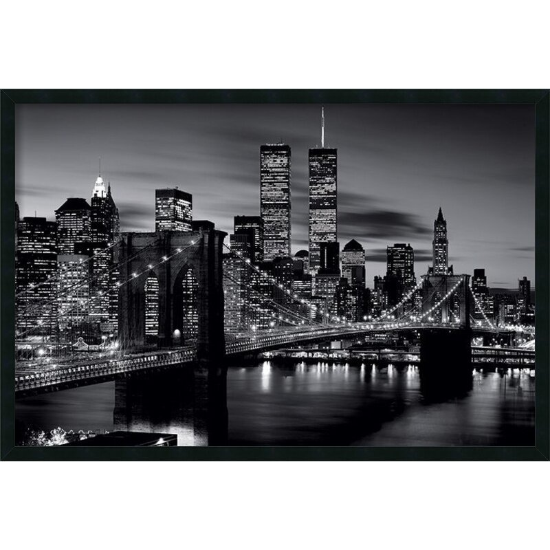 Amanti art brooklyn bridge black and white framed for Brooklyn bridge black and white wall mural