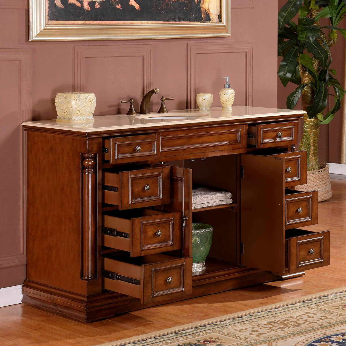 silkroad exclusive 58 single sink cabinet bathroom vanity