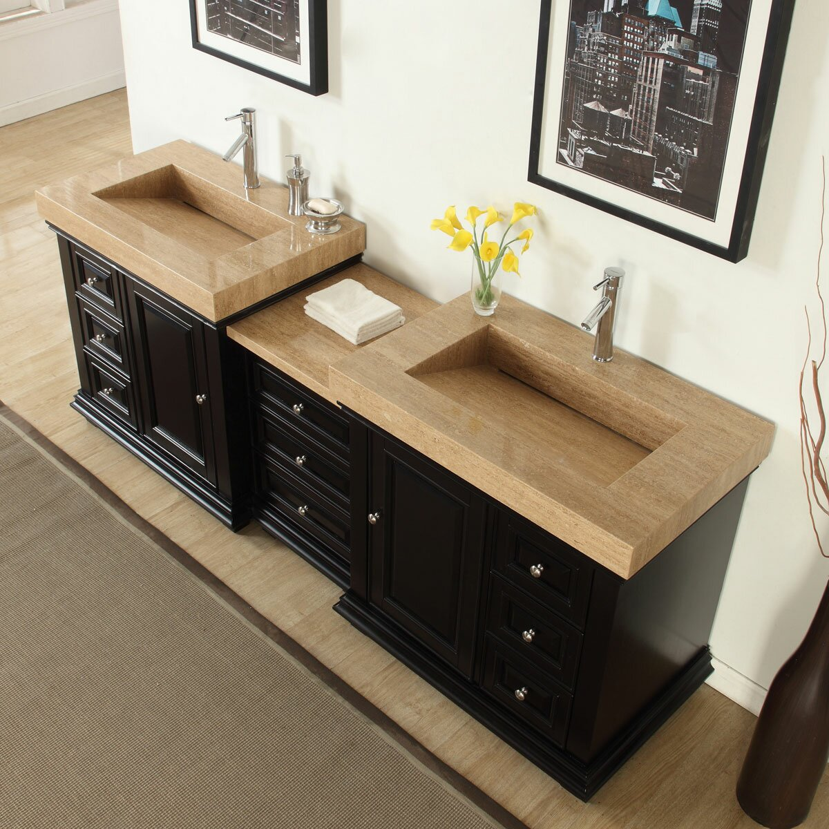 Silkroad exclusive 90 double sink modern bathroom vanity - Contemporary double sink bathroom vanity ...